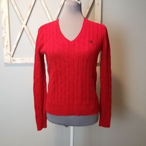 CHAPS red v-neck cable knit sweater Small